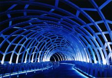 Steel bridge. With blue lighting at nighttime, Melbourne Docklands, Victoria, Australia Royalty Free Stock Photo