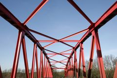 Steel bridge. A red steel bridge at the Rhine Herne canal, Castrop-Rauxel, Germany Stock Image
