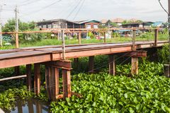 Steel bridge across the canal. For temporary construction site Stock Images