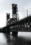 Steel Bridge B/W. The historic Steel Bridge in downtown Portland, OR Royalty Free Stock Photos