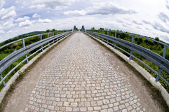 Steel bridge with bricks made with fish eye Royalty Free Stock Photo