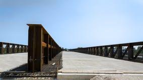 Steel bridge. Construction of steel and concrete bridge Royalty Free Stock Image