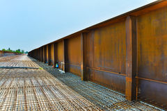 Steel bridge. Construction of steel and concrete bridge Royalty Free Stock Photos
