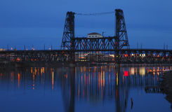 Steel bridge at dusk. stock photography