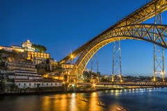 Steel bridge by Gustave Eiffel connecting Porto and Gaia, Portug Stock Image