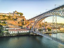 Steel bridge by Gustave Eiffel connecting Porto and Gaia, Portug Royalty Free Stock Image