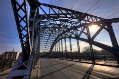 steel bridge. Modern steel bridge for cars and tram Royalty Free Stock Image