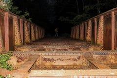 Steel Bridge during Nightime Royalty Free Stock Photo
