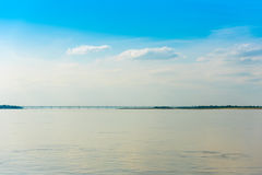 Steel bridge over the Irrawaddy river in Mandalay, Myanmar, Burma. Copy space for text. Royalty Free Stock Images