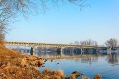 Steel bridge over the Labe river in Litomerice Stock Photo