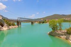 Steel bridge over reservoir Royalty Free Stock Images