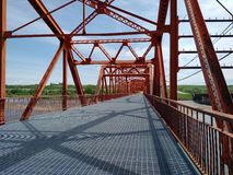 Steel bridge. Over river Stock Photo