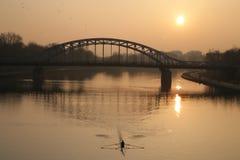 Steel bridge over a river Stock Photos