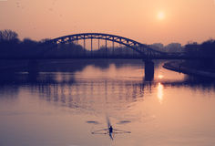 Steel bridge over a river Royalty Free Stock Photography