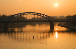 Steel bridge over a river Stock Photography