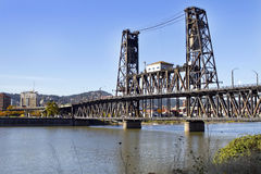 Steel Bridge over Willamette River Stock Images