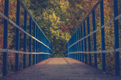 Steel bridge in park. Steel bridge in the autumn park royalty free stock photos