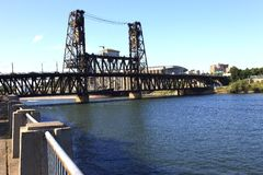 The steel bridge, Portland OR. Royalty Free Stock Images