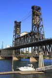 The steel bridge, Portland OR. Stock Photo