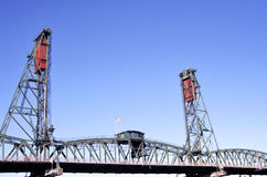 Steel bridge. In Portland, OR with the American Flag flying high Stock Photos