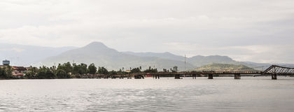 Steel bridge in Kampot, Cambodia. Steel bridge on river in Kampot, Cambodia. Kampot is a small town in south-east Cambodia, and is a gateway to Bokor National Royalty Free Stock Photography
