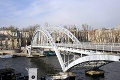 Steel Bridge on seine river Stock Images