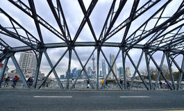 Steel Bridge & Shanghai Skyline Stock Photo