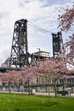 Steel Bridge at Spring Time Stock Photography