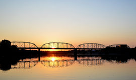 Steel bridge at sunset Royalty Free Stock Image
