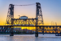 Steel Bridge at Sunset Stock Photography