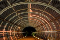 Steel bridge tunnel  Stock Images