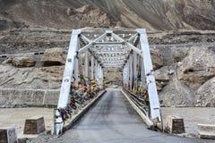 A steel bridge at Zanskar valley in Ladakh, India Stock Image