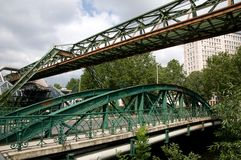 Steel bridges. Steel structure bridges in Wuppertal -  Germany Royalty Free Stock Image
