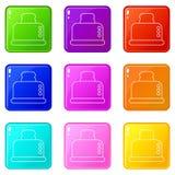 Steel broodroosterpictogrammen plaatsen 9 kleureninzameling vector illustratie