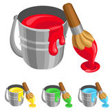 The steel bucket with paint and brush Royalty Free Stock Photography