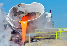 Steel buckets to transport the molten metal Stock Photography
