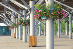 Steel building. Decorated with flowers stock photography
