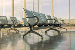 Steel Bus Station Waiting Chairs Stock Photo