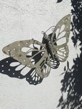 Steel butterfly. Welded butterfly on a wall Royalty Free Stock Photo