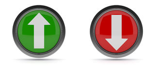 Steel buttons with up and down arrow Stock Image