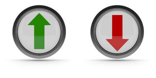 Steel buttons with up and down arrow Stock Photo