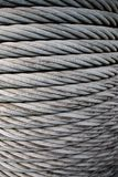 Steel Cable. Closeup of gray steel cable Stock Photo