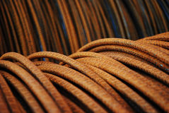 Steel cable. Rusty steel cable on a coil Royalty Free Stock Photos