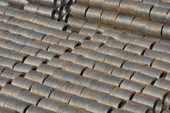 Steel Cable Bundles. Several Industrial Steel Cable Wires used for background Stock Image