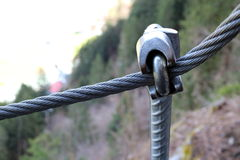 Steel cable. With mounting in nature, rope way Stock Photography
