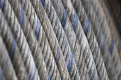 Steel cable rolled. Steel cable coiled with blue stripes Stock Image