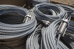 Steel Cable Rolls. Ready for use Royalty Free Stock Photography