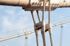 Steel cable structure. For a bridge against blue sky Stock Image