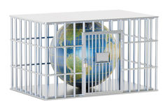 Steel cage, prison cell with Earth globe. 3D rendering Royalty Free Stock Photos