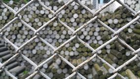 Steel cages. Land pins were barred with steel cages to prevent intruders Royalty Free Stock Photos